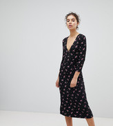 Miss Selfridge Wrap Front Ditsy Floral Print Midi Dress