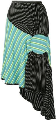 KIKO KOSTADINOV Asymmetric Length Striped Skirt