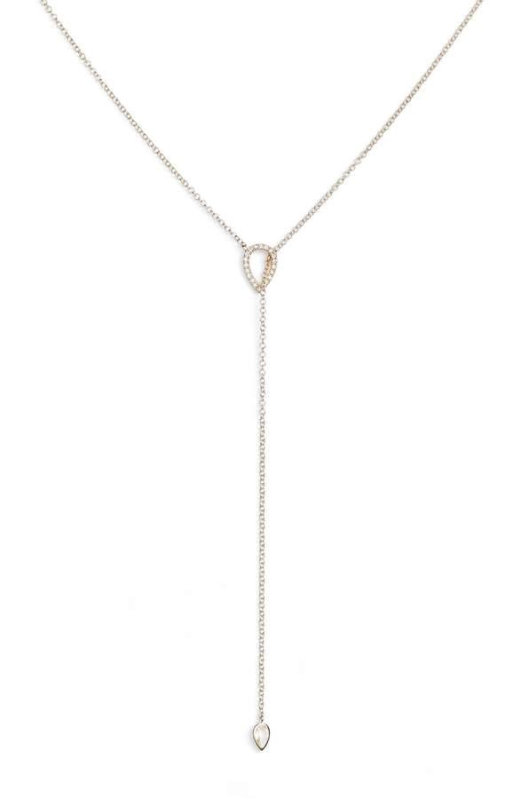 Ef Collection Teardrop Diamond Lariat Necklace
