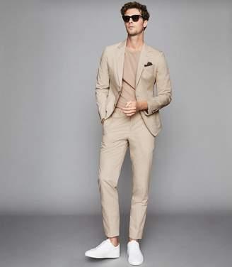 Reiss Scholar B - Linen-blend Slim-fit Blazer in Stone