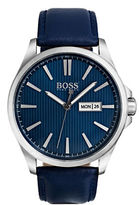 HUGO BOSS The James 3-Hand Stainless Steel Analog Leather-Strap Watch