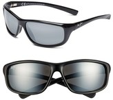 Maui Jim Men's 'Spartan Reef - Polarizedplus2' 64Mm Sunglasses - Gloss Black/ Neutral Grey