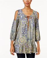 Style&Co. Style & Co Petite Printed Cold-Shoulder Peasant Top, Only at Macy's