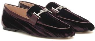 Tod's Double T crushed-velvet loafers