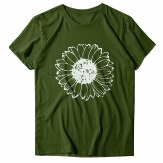 Beetlenew Womens Blouses Women's Short Sleeve/Sleeveless Tops Summer Novelty Cute Daisy Floral Print Basic T-Shirts Wildflower Pattern Casual Graphic Tee Shirts Tanks Online Classes Club Party Clothes Light Green