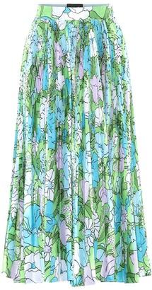 Richard Quinn Floral pleated taffeta skirt