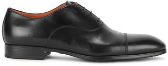 Santoni Black Leather Oxford Shoes