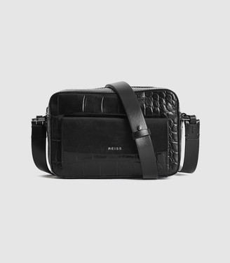Reiss Archie - Leather Cross Body Bag in Black