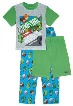 Minecraft Boys Super Soft Short Sleeve Top, Long Pants & Shorts, 3-Piece Pajama Set Sizes 6-12