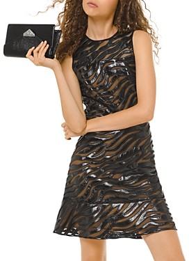 MICHAEL Michael Kors Appliqued Faux-Leather Mesh Mini Dress