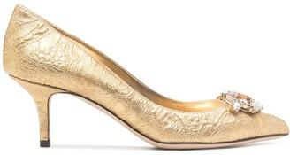 Dolce & Gabbana Pre-Owned Crystal-Embellished Metallic Pumps