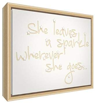 BEIGE Feel Good Art Eco-Printed and Framed Nursery Canvas with Solid Natural Wooden Frame (44 x 34 x 3 cm, Medium, Beige, She Leaves a Sparkle Wherever She Goes)