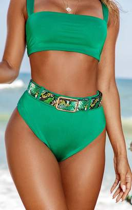 PrettyLittleThing Green High Waist Belt Loop Bikini Bottom