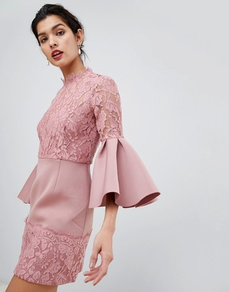 Asos Design ASOS Lace Fluted Sleeve Scuba Skater Mini Dress