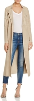 Linea Pelle Open Front Paneled Suede Trench
