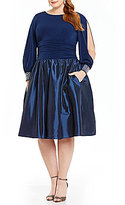 Jessica Howard Plus Beaded Cuff Taffeta Party Dress