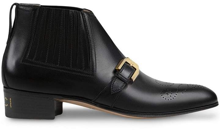 f6df8f9c2d5 Women's leather ankle boot with G brogue