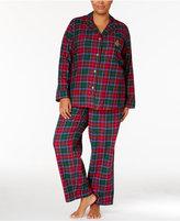 Lauren Ralph Lauren Plus Size Brushed Twill Notch Collar Pajama Set