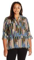 "Rafaella Women's Plus Size ""Line Up"" Printed Tie Front Woven Top"