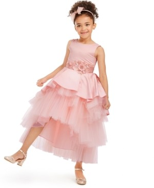 Rare Editions Toddler Girls Satin & Tulle Tiered Gown