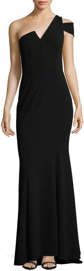 Betsy & Adam Scuba Crepe One-Shoulder Floor-Length Gown