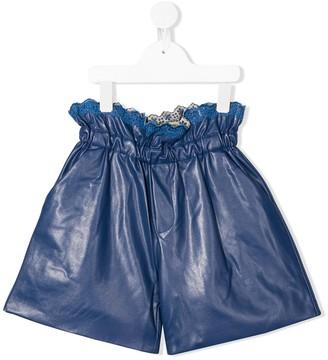 Philosophy Di Lorenzo Serafini Kids Paperbag-Waist Faux-Leather Shorts