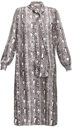 Marni Moire-print Tie-neck Twill Dress - Womens - Black White