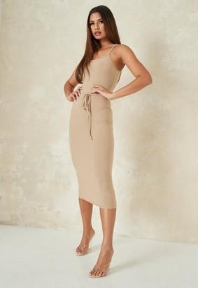 Missguided Petite Gray Tie Belt Cami Midi Dress