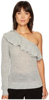 Rebecca Taylor One Shoulder Ruffle Alpaca Pullover Women's Long Sleeve Pullover
