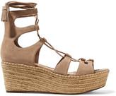 Schutz Hudson lace-up suede wedge sandals