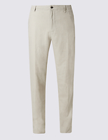M&S Collection Big & Tall Regular Fit Linen Rich Trousers