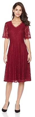 Suite Alice Women's Short Sleeve Scalloped Neck Flare Hem Lace Dress Ruty