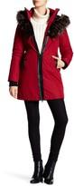 NOIZE Donna Faux Fur Trim Hooded Coat