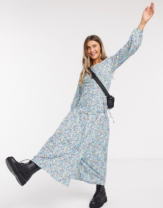 ASOS DESIGN maxi wrap smock dress with long sleeves in floral print