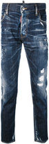 DSQUARED2 denim distressed jeans - men - Cotton/Calf Leather/Polyester/Spandex/Elastane - 50