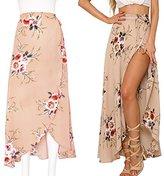 Sunroyal Women's Floral Print High Waist Summer Beach Wrap Maxi Skirt Cover Up