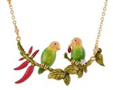 Les Nereides Love Birds Couple On A Leafy Branch And Chilies Short Necklace.