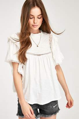 Free People Womens White Broderie Blouse - White