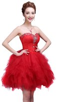 Drasawee Strapless Beaded Ball Gown fluffy Junior Short Prom Dress Bridesmaid Gowns