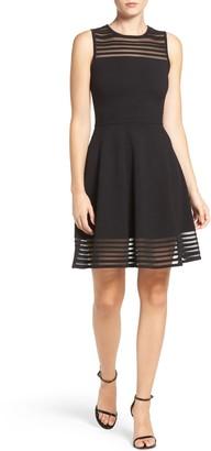 Eliza J Stripe Mesh Fit & Flare Dress (Petite)