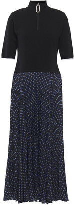 Markus Lupfer Pleated Polka-dot Crepe De Chine And Merino Wool-blend Midi Dress