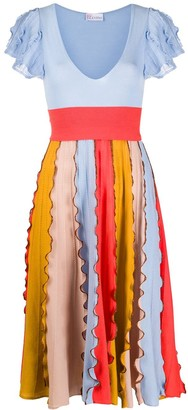 RED Valentino Colour-Block Ruffle-Panel Dress