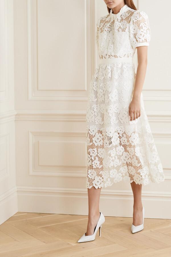 Self-Portrait Grosgrain-trimmed Guipure Lace Midi Dress - White