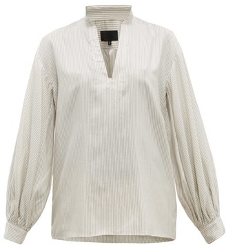 Nili Lotan Joey Striped Silk Blouse - White Multi