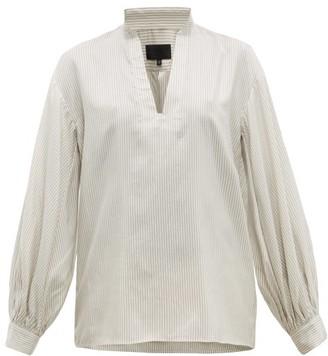 Nili Lotan Joey Striped Silk Blouse - Womens - White Multi