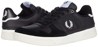 Fred Perry B300 Leather/Poly (Black/White) Men's Shoes