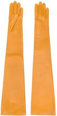 Saint Laurent Engraved Logo Long Gloves
