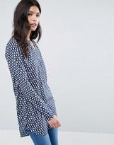 Vila Blue and White Print Tunic Top