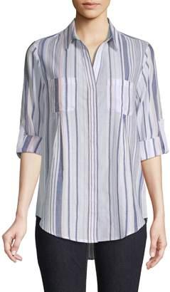 Lord & Taylor Stripe Roll-Tab Sleeve Shirt