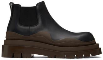Bottega Veneta Black and Brown Low Tire Chelsea Boots